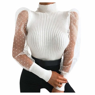 CUTUDE Womens Tops Sexy Mesh Sheer T Shirt See Through O-Neck Lantern Sleeve Ladies Tee Perspective Dot Embroidered Transparent Blouse Casual Loose Clubwear Fashion (White XL)