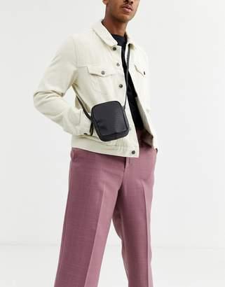 Asos Design DESIGN flight bag in leather with croc emboss-Black