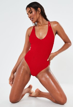 Missguided Red Crinkle Scoop High Leg Swimsuit