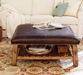 Pottery Barn Caden Leather Square Ottoman