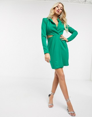 Flounce London mini tux wrap dress with cut outs in green