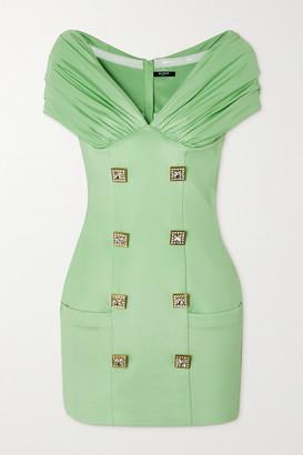 Balmain Off-the-shoulder Ruched Crystal-embellished Crepe Mini Dress - Mint