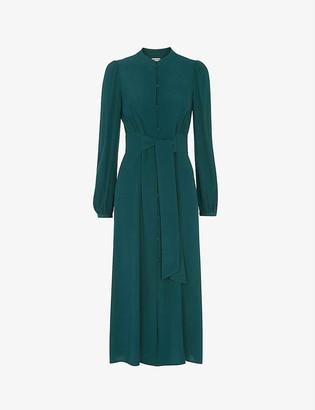 Whistles High-neck crepe midi dress