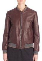 Brunello Cucinelli Reversible Leather Bomber Jacket