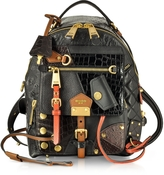 Moschino Black/Brown Quilted and Embossed Leather Backpack