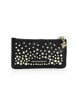 Alexander McQueen Women's Studded Leather Zippered Card Holder