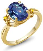 Gem Stone King 2.52 Ct Millenium Blue Mystic Quartz Sapphire Yellow Gold Plated Silver Ring