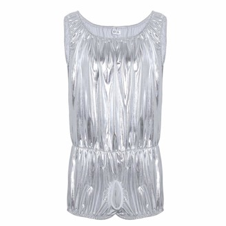 """iiniim Mens Sexy Silver Shiny Faux Leather Sissy Open Hole Pouch One-Piece Boxer Shorts Leotard Bodysuit Silver Medium(Bust: 50.0""""/128cm)"""