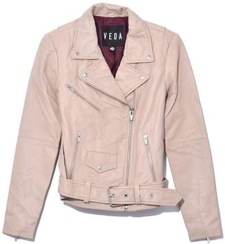 Veda Jayne Smooth Leather Jacket in Beige