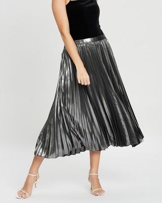 Banana Republic Petite Petite Pleated Metallic Midi Skirt