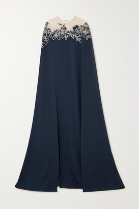 Oscar de la Renta Cape-effect Embellished Stretch-silk And Tulle Gown - Navy