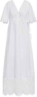 McQ Lace-up Lace-paneled Broderie Anglaise Cotton Maxi Dress
