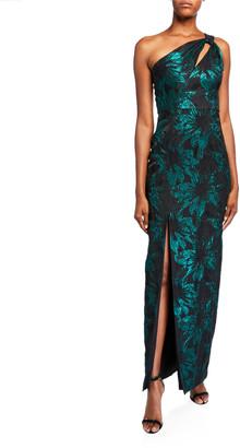 Aidan Mattox One-Shoulder Cutout Jacquard Column Gown w/ Slit