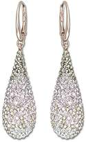 Swarovski Women's Rose Gold Plating Abstract Pierced Crystals Earrings, Multi-coloured