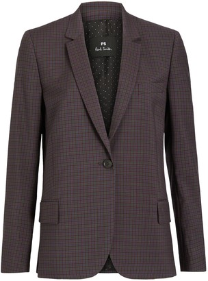 Paul Smith Single Breasted Check Blazer Jacket, Burgundy