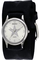 Nemesis #FST355S Women's Black Wide Cuff Leather Embossed Star Icon Band Watch
