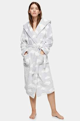 Topshop Womens Grey Carved Cloud Dressing Gown - Grey