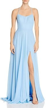 Faviana Couture Chiffon Lace-Up Back Gown