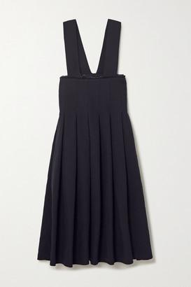 Comme des Garçons Comme des Garçons Pleated Frayed Twill Midi Dress - Navy