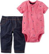 Carter's 2-Pc. Cotton Sailboat-Print Bodysuit & Jeans Set, Baby Boys (0-24 months)