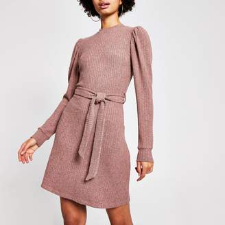 River Island Womens Pink puff sleeve ribbed mini dress