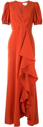 Sachin + Babi Puff-Sleeve Evening Dress