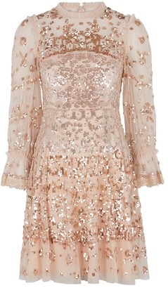 Needle & Thread Light Pink Sequin-embellished Tulle Dress