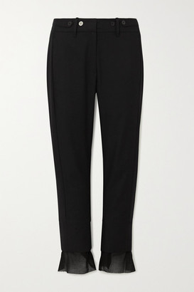 Ann Demeulemeester Cotton And Cashmere-blend Slim-leg Pants - Black