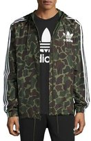adidas Logo Wind-Resistant Track Jacket, Green Camouflage