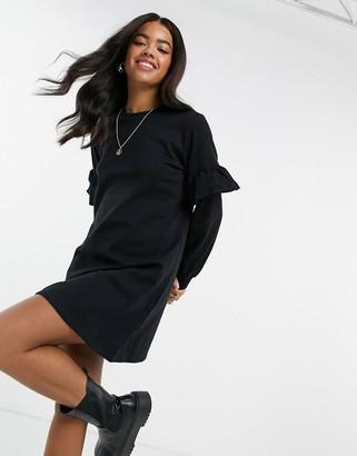 New Look frill sleeve sweatshirt mini dress in black