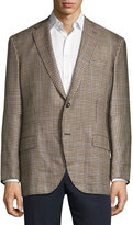 Luciano Barbera Check Soft Two-Button Jacket, Brown