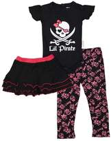 Silly Souls Silly Souls, Inc Lil' Pirate Baby Girl Onesie, Skirt and Legging 3-6 Months