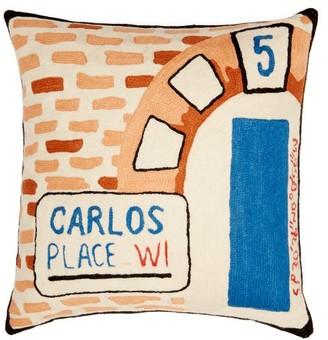 Kilometre Paris - Carlos Place London-embroidered Cotton Cushion - Multi