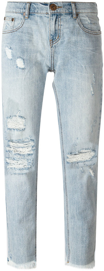 One Teaspoon cropped distressed jeans