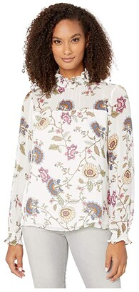 Vince Camuto Long Sleeve Windsor Floral Chiffon Mock Neck Blouse (Pearl Ivory) Women's Clothing