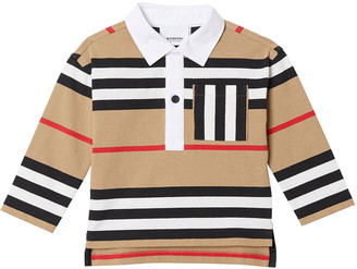 Burberry Boy's Cuthbert Icon Stripe Collared Shirt, Size 6M-2
