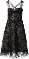 Monique Lhuillier mesh flower lace dress - women - Silk - 4