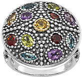 QVC Sterling & 14K Multi Gemstone Disk Ring