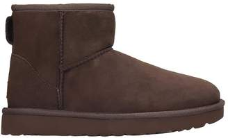 UGG Mini Classic Low Heels Ankle Boots In Brown Suede