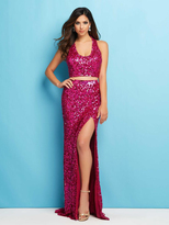 Mac Duggal Couture - 4356 Sequin Ornate Sheath Gown With Slit