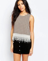 Brave Soul Printed Tank With Lace Trim