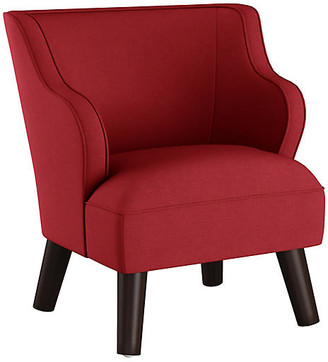 One Kings Lane Kira Kids' Accent Chair - Red Linen - frame, espresso; upholstery, red
