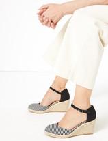 Marks and Spencer Gingham Ankle Strap Wedge Espadrilles