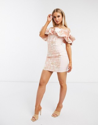 ASOS DESIGN jacquard bubble neckline mini dress in pink
