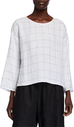 Eileen Fisher Broad Check Jewel-Neck 3/4-Sleeve Top