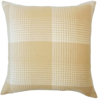 The Pillow Collection Tiernan Plaid Down Filled Throw Pillow in Honey