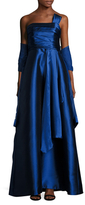 Theia Pleated Bodice A Line Dress