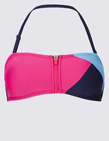 M&S Collection Colour Block Zip Front Bandeau Bikini Top