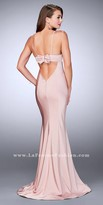 La Femme Classic Open Bow Back Jersey Fitted Prom Dress