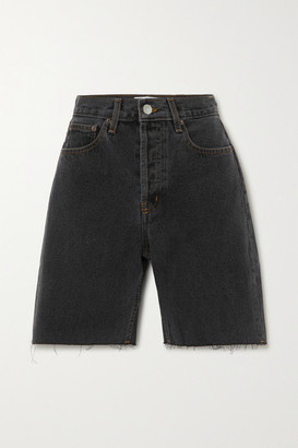 Still Here - Tate Striped Denim Shorts - Black